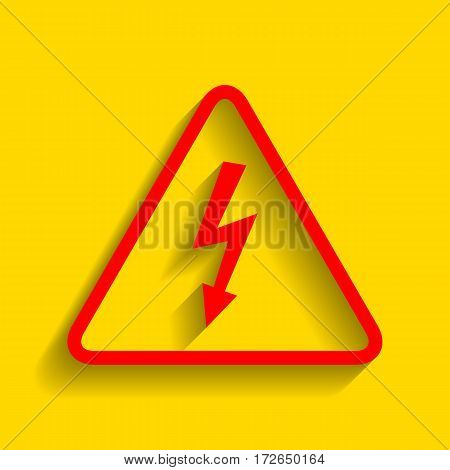 High voltage danger sign. Vector. Red icon with soft shadow on golden background.