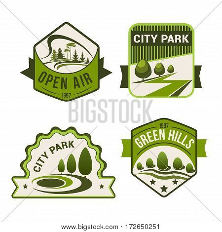 City or urban outdoor park or green forest vector icons set of green trees and open air plants for horticulture landscape design, ecology environment company or planting and gardening service