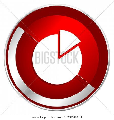 Chart red web icon. Metal shine silver chrome border round button isolated on white background. Circle modern design abstract sign for smartphone applications.