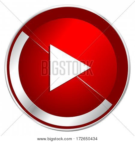 Play red web icon. Metal shine silver chrome border round button isolated on white background. Circle modern design abstract sign for smartphone applications.