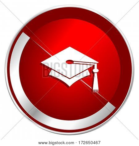 Education red web icon. Metal shine silver chrome border round button isolated on white background. Circle modern design abstract sign for smartphone applications.