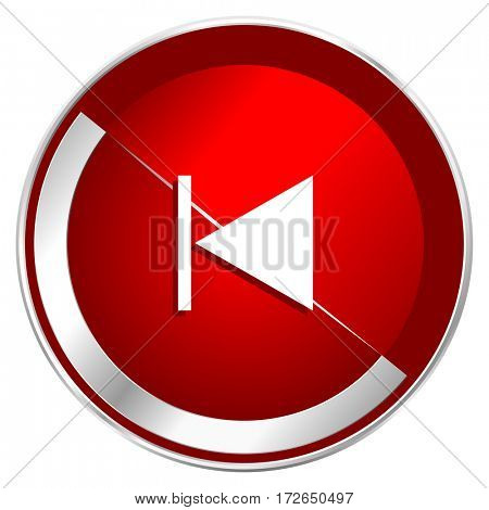 Prev red web icon. Metal shine silver chrome border round button isolated on white background. Circle modern design abstract sign for smartphone applications.
