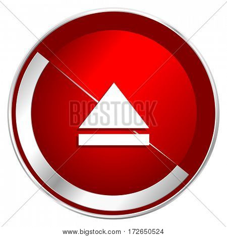 Eject red web icon. Metal shine silver chrome border round button isolated on white background. Circle modern design abstract sign for smartphone applications.