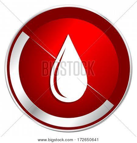 Water drop red web icon. Metal shine silver chrome border round button isolated on white background. Circle modern design abstract sign for smartphone applications.