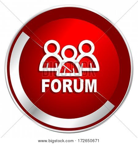Forum red web icon. Metal shine silver chrome border round button isolated on white background. Circle modern design abstract sign for smartphone applications.