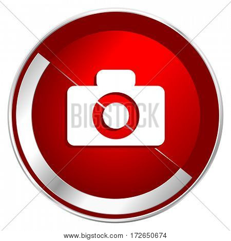 Camera red web icon. Metal shine silver chrome border round button isolated on white background. Circle modern design abstract sign for smartphone applications.