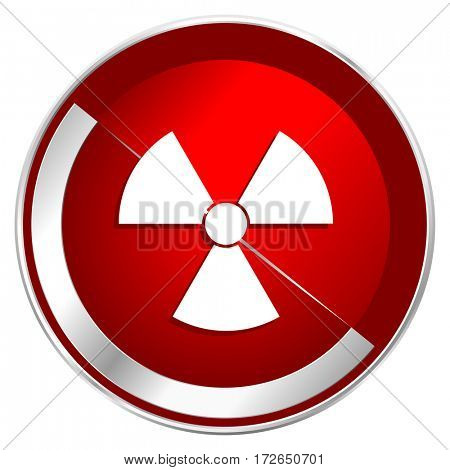 Radiation red web icon. Metal shine silver chrome border round button isolated on white background. Circle modern design abstract sign for smartphone applications.