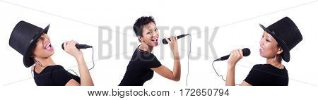 Afro-american female singer isolated on white