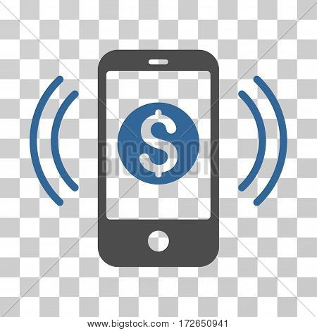 Payment Phone Ring icon. Vector illustration style is flat iconic bicolor symbol cobalt and gray colors transparent background. Designed for web and software interfaces.