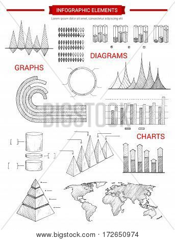 Infographic sketch elements or vector infochart graphs and icons set of business chart, pyramid diagram, demographics world statistics map, growth dynamics bars, economics data or marketing flowchart