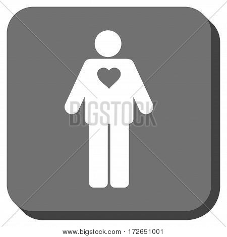 Groom interface icon. Vector pictogram style is a flat symbol on a rounded square button white and gray colors.