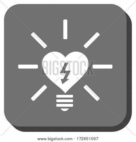 Heart Electric Bulb interface icon. Vector pictogram style is a flat symbol inside a rounded square button white and gray colors.