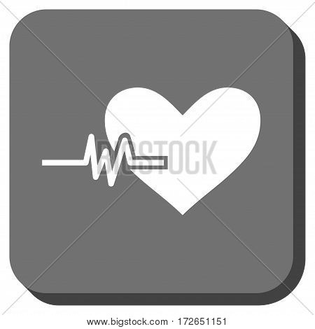 Heart Pulse interface button. Vector pictograph style is a flat symbol inside a rounded square button white and gray colors.