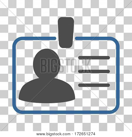 Personal Badge icon. Vector illustration style is flat iconic bicolor symbol cobalt and gray colors transparent background. Designed for web and software interfaces.
