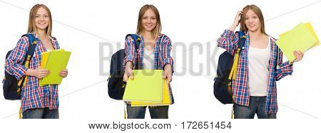 Collage of young female student on white