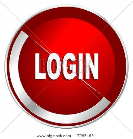 Login red web icon. Metal shine silver chrome border round button isolated on white background. Circle modern design abstract sign for smartphone applications.