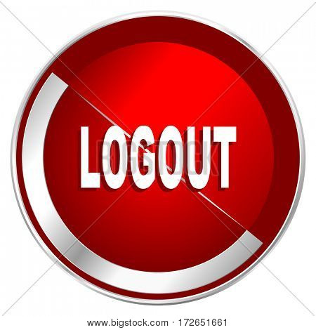 Logout red web icon. Metal shine silver chrome border round button isolated on white background. Circle modern design abstract sign for smartphone applications.
