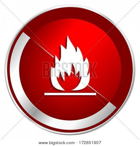 Flame red web icon. Metal shine silver chrome border round button isolated on white background. Circle modern design abstract sign for smartphone applications.