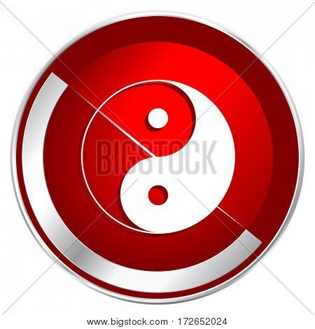 Ying yang red web icon. Metal shine silver chrome border round button isolated on white background. Circle modern design abstract sign for smartphone applications.