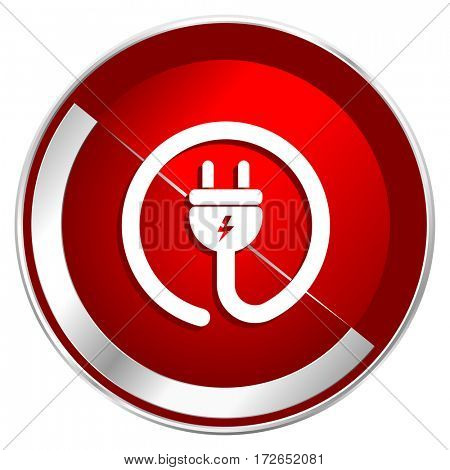 Electric plug red web icon. Metal shine silver chrome border round button isolated on white background. Circle modern design abstract sign for smartphone applications.