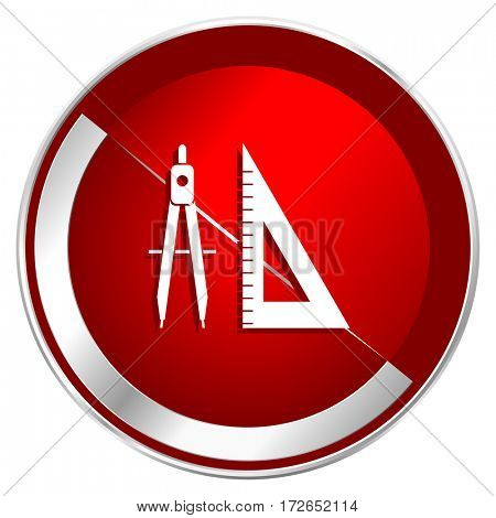 Learning red web icon. Metal shine silver chrome border round button isolated on white background. Circle modern design abstract sign for smartphone applications.
