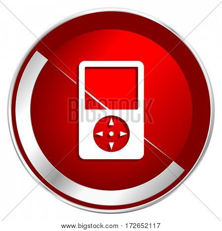 Multimedia player red web icon. Metal shine silver chrome border round button isolated on white background. Circle modern design abstract sign for smartphone applications.