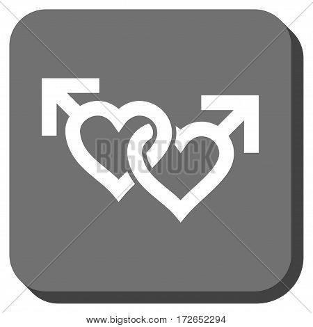 Linked Gay Hearts interface toolbar button. Vector pictogram style is a flat symbol in a rounded square button white and gray colors.