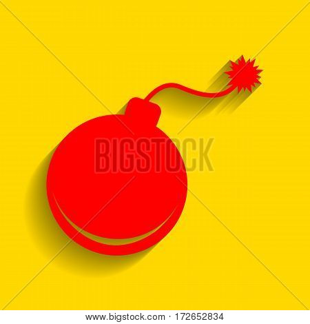 Bomb sign illustration. Vector. Red icon with soft shadow on golden background.