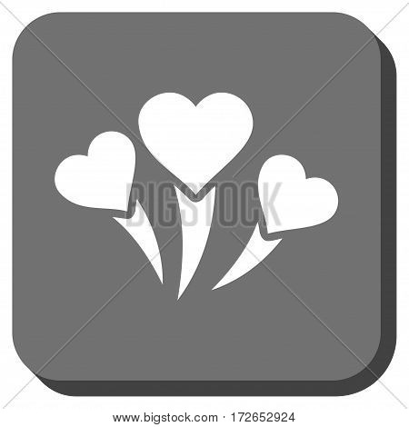 Love Heart Fireworks interface toolbar button. Vector pictogram style is a flat symbol in a rounded square button white and gray colors.