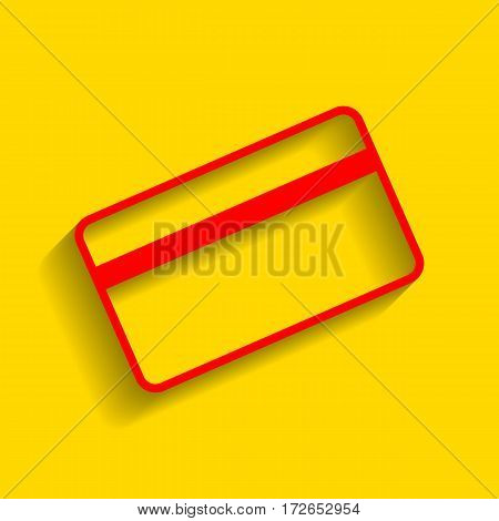 Credit card symbol for download. Vector. Red icon with soft shadow on golden background.
