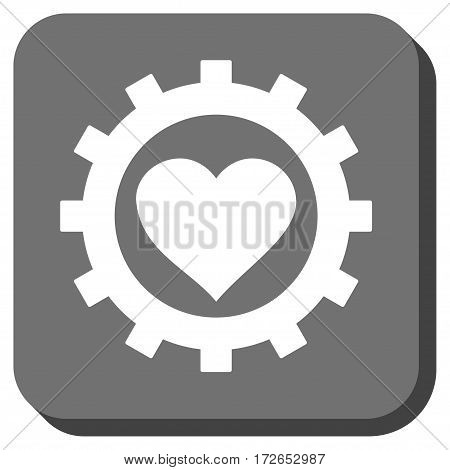 Love Heart Options Gear square button. Vector pictogram style is a flat symbol inside a rounded square button white and gray colors.