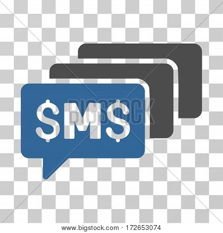 SMS Messages icon. Vector illustration style is flat iconic bicolor symbol cobalt and gray colors transparent background. Designed for web and software interfaces.