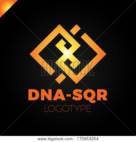Dna Two Square Concept Logo Template