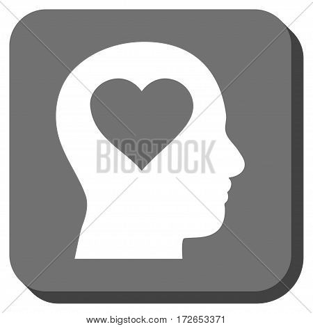 Love In Head toolbar button. Vector pictograph style is a flat symbol in a rounded square button white and gray colors.