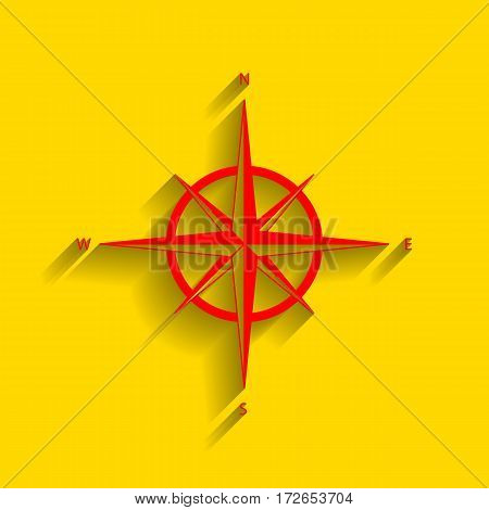Wind rose sign. Vector. Red icon with soft shadow on golden background.