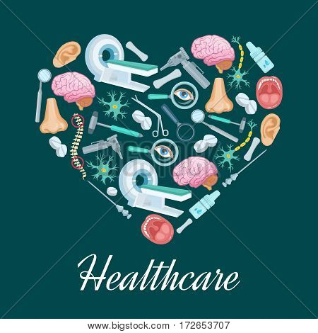 Heart symbol or poster with healthcare medicines of MRI scanner, surgery and otolaryngology instruments syringe, scissors and otoscope, pills and human brain organ, spine, nose and ear or nerve cells