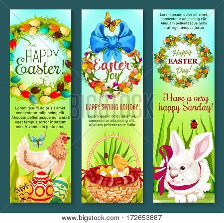 Happy Easter Day cartoon banner set. Easter egg, rabbit bunny, egg hunt basket, chicken, chick, spring flower wreath with pointed eggs and ribbon bow, butterfly and green grass. Easter holidays design