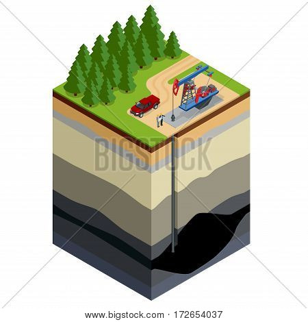 Oil drilling exploration concept. Engineer writing on the paper in front of the natural gas pipes.Refinery, gas and oil. Flat 3d isometric illustration. For infographics and design