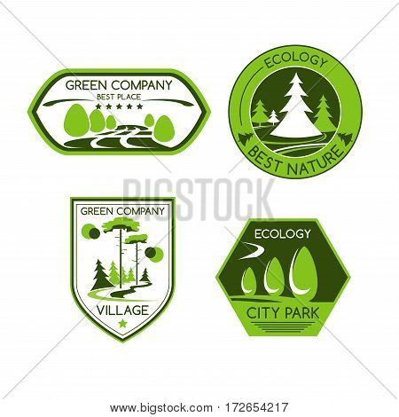 Green company vector icons set of urban outdoor park or eco village or forest trees and plants for horticulture landscape design, ecology environment or city and urban planting and gardening service