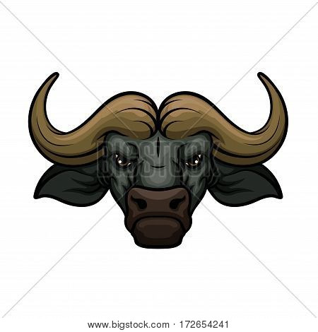 Black buffalo vector mascot icon of wild bull or african bison bovine animal muzzle or snout with horns. Isolated emblem or blazon for sport team, nature adventure club or tattoo sign