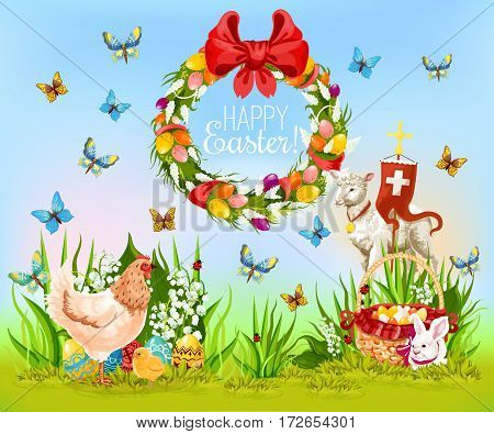 Best Easter wishes cartoon greeting card. Easter egg hunt meadow with decorated eggs, rabbit bunny, chicken, chick, lamb of God with cross, spring flower wreath with ribbon bow and flying butterflies