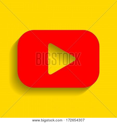 Play button sign. Vector. Red icon with soft shadow on golden background.