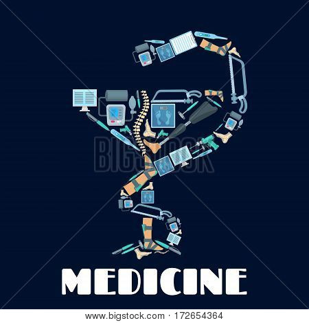 Bowl of Hygieia symbol or vector poster of orthopedics and surgery medicine tools surgeon drill and bone saw, tonometer or pulsometer, thermometer, scales and x-ray of spine or foot limb prosthesis