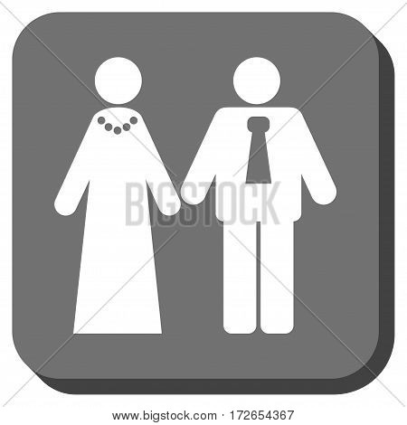 Newlyweds interface toolbar button. Vector pictograph style is a flat symbol centered in a rounded square button white and gray colors.