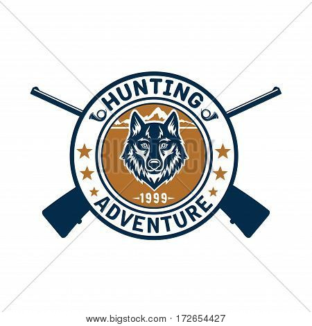 Hunting adventure icon or hunter club round emblem of vector wild wolf jackal or coyote muzzle and riffle or guns for wildlife hunt, stars and hunting bugle horn