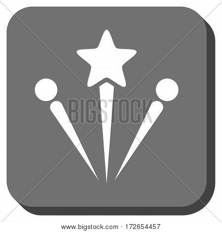 Salute Fireworks rounded icon. Vector pictogram style is a flat symbol centered in a rounded square button white and gray colors.