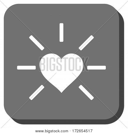 Shiny Love Heart rounded button. Vector pictogram style is a flat symbol inside a rounded square button white and gray colors.