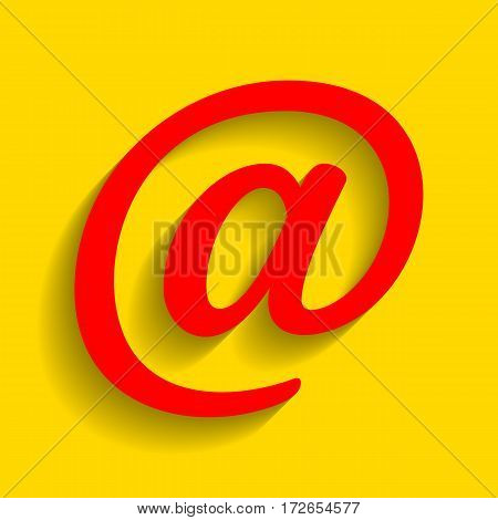 Mail sign illustration. Vector. Red icon with soft shadow on golden background.