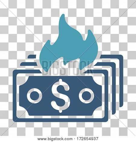 Burn Banknotes icon. Vector illustration style is flat iconic bicolor symbol cyan and blue colors transparent background. Designed for web and software interfaces.