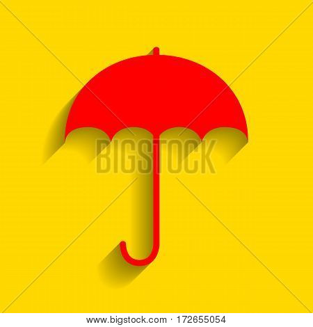 Umbrella sign icon. Rain protection symbol. Flat design style. Vector. Red icon with soft shadow on golden background.